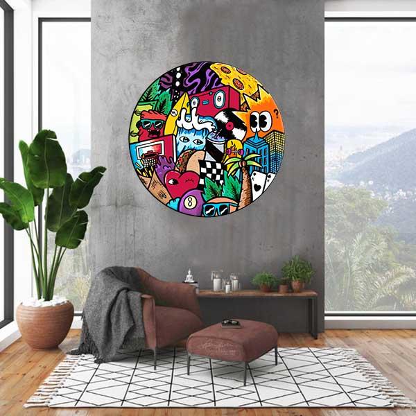 תמונת זכוכית צבעונית לסלון